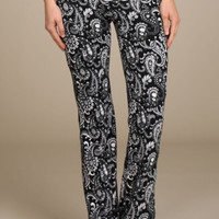 Black and White Lace Waist Yoga Pants