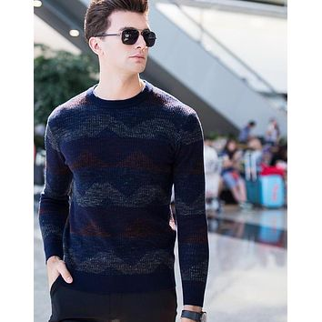 Geometric Pattern Men's Striped Wool Pullover Men Knitting Patchwork Casual Sweater