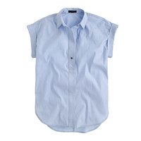 J.Crew Womens Short-Sleeve Popover Shirt In Oxford Blue