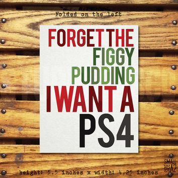 Figgy PS4 - Holiday Greeting Card - Christmas Card - PS4 Card - Gift Idea - Funny Card - Custom Card