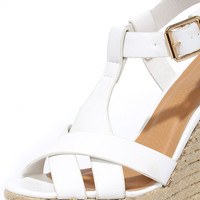 Dancing Time White Espadrille Wedges