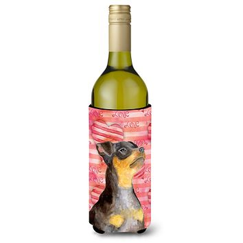 Miniature Pinscher #2 Love Wine Bottle Beverge Insulator Hugger BB9811LITERK