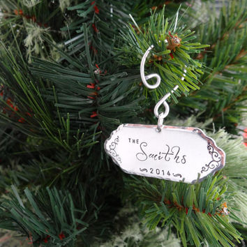 Personalized Family Name Ornament - Custom Ornate Hand Stamped Ornament - 2014 Christmas Ornament - Family Ornament