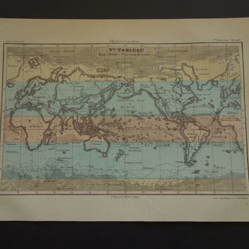 WORLD MAP 1878 hand colored French antique old world map poster in Mercator projection - vintage world maps - Weltkarte mappe monde