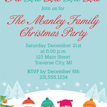 Carolers Christmas Party Invitations