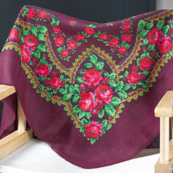 Vintage boho peasant Russian scarf burgundy pink red green floral scarf folk wool lady gift