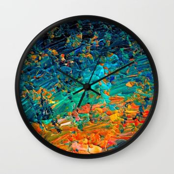 ETERNAL TIDE 2 Rainbow Ombre Ocean Waves Abstract Acrylic Painting Summer Colorful Beach Blue Orange Wall Clock by EbiEmporium