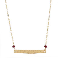 Gold Bar & Ruby Necklace