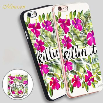 Minason Killin X27 It Tropical Pink Mobile Phone Shell Soft TPU Silicone Case Cover for iPhone X 8 5 SE 5S 6 6S 7 Plus