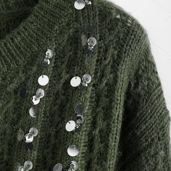 Crew Neck Sequined Sweater - Army Green - ONE SIZE