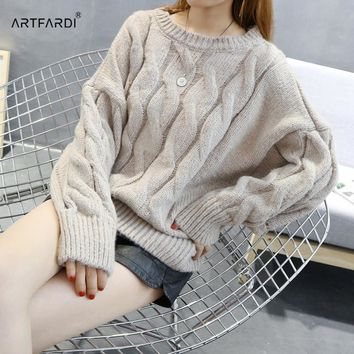 ARTFARDI Korean Style Mohair Sweater Twisted O-neck Long Sleeves Jumpers Woman Pullover Knitwear Winter Clothing AR1815