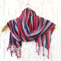 Handwoven infinity scarf,  Black,Grey,Red,Stıriped Scarves, Natural,Organic Scarf, Fashion accessories, Women Scarves