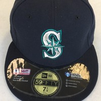 SEATTLE MARINERS MLB RETRO NEW ERA 5950 NAVY W/ BLACK UNDER FITTED HAT