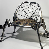 Along Came A Spider by Keith Raivo: Metal Chair STUDIO SALE - Artful Home