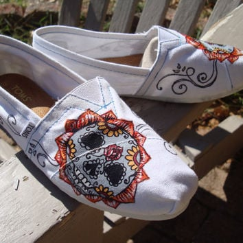 sugar skull painted on TOMS shoes by ArtfulSoles on Etsy
