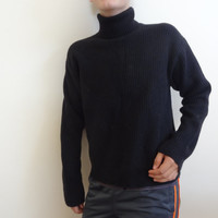 turtle neck sweater 1980s vintage mod clothing pull over black knit