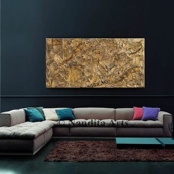 Gold Brown Texture Abstract Painting, Contemporary Art, Modern Home Decor Wall Art Original Palette Knife artwork, Birthday Gift by Nandita