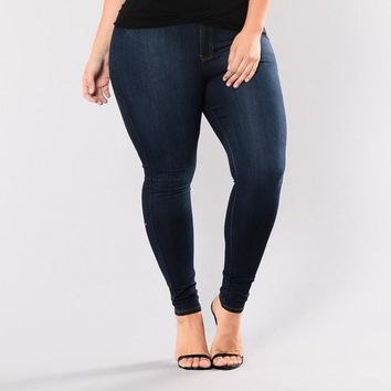 Stretch Skinny High Waiste Jeans Plus Size