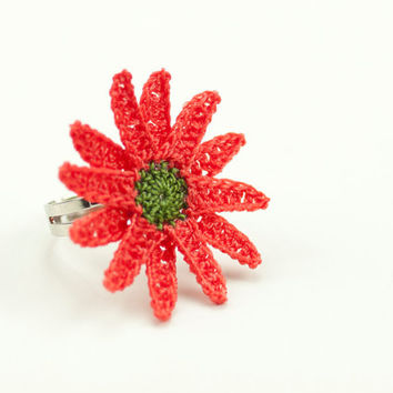 Crochet Lace Red Daisy Ring - Adjustable Daisy Ring - Statement Ring – Light Red Green Orange - Jewelry Handmade - Fiber Art Jewelry