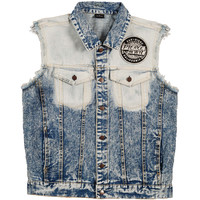 Pierce The Veil Men's  Sleeveless Denim Vest Vest Blue