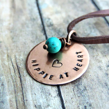 Hippie Necklace, Boho Necklace, Stamped Jewelry, Quote Necklace, Free Spirit, Copper Pendant,
