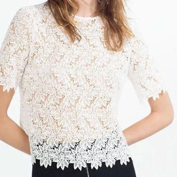 White Floral Short Sleeve Crochet Lace Blouse