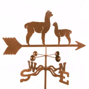 Alpaca Momma and Baby Rain Gauge Garden Stake Weathervane