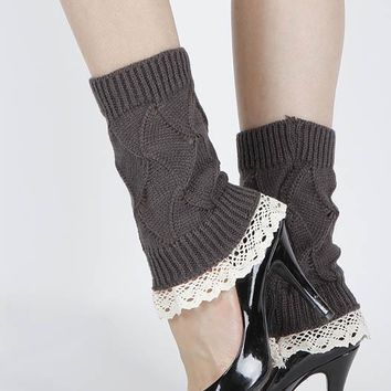 LEG WARMER LACE TOP KNITTED ANKLE