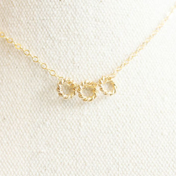 Tiny Gold Twist Rings Everyday Necklace with free gift box, solitaire minimalist simple delicate tiny