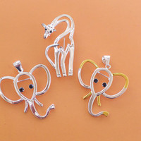Elephant and Giraffe Charm Pins - Metal Silver and Gold - Assorted Jewelry Supplies SALE - Discount Clearance Destash