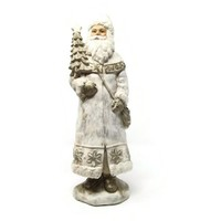 Tall Old World Winter White Santa Claus Figurine with Gold Ascents
