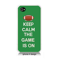 Keep Calm The Game Is On Iphone 4/4s case, Iphone cover, football, green