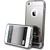 iPhone 5 Mirror Case, Umiko(TM) Bling Handmade Chic Mirror Chrome Gold Silver Gray Case for iphone 5 5S- Gray