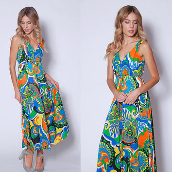 Vintage 70s PSYCHEDELIC Print Maxi Dress BRIGHT Graphic Print Sundress Hippie Dress
