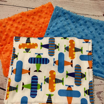 Baby Burp Cloths,Baby Gift,Handmade Minky Burp Cloth Sets,Burp Rags,Burping Baby,Baby Shower Gift,Airplane Print Fabric,Baby Boy Gift