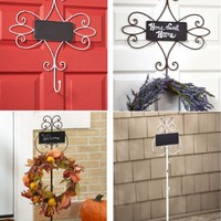 Chalkboard Wreath Hangers Metal Stand or Over the Door Holiday Door Porch Decor