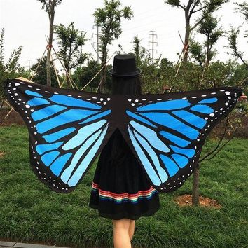 LMFONRZ 7 Colors US Pareo Colorful Soft Fabric 3D Butterfly Wings Fairy Lady Nymph Pixie Costume Accessory 2017 New Arrive Cover up