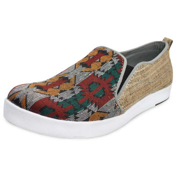 Mato Slip On Loafers Hemp Sneakers Casual Shoes with Aztec Boho Bohemian Pattern Unisex