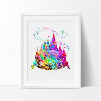 Princess Castle Watercolor Art Print