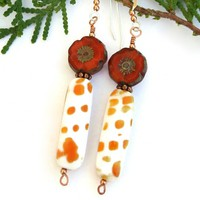 Orange and White Mitra Shell Earrings, Pansy Flower Handmade Dangle Jewelry