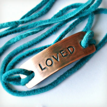Copper Word Tag Wrap Bracelet - LOVED - Hand Stamped Copper Bracelet - Can Be Customized with Your Favorite Word, Name or Date