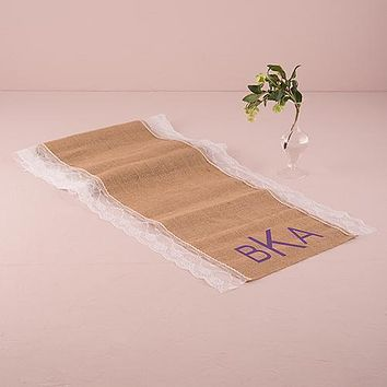 "Natural Burlap Table Runner with Lace Edging (90"" - 2.3m long) (Pack of 1)"