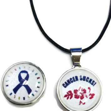 Cancer Sucks Hibiscus Purple Ribbon Breast Cancer Support Awareness Hope For A Cure Pendant Necklace  W/2 18MM - 20MM Snap Jewelry Charms