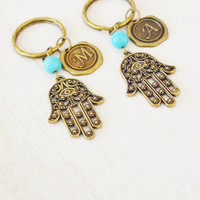 hamsa hand keychain,evil eye,om keychain,hand of fatima jewelry,protection hamsa key ring,personalized friendship keychain,symbol key ring