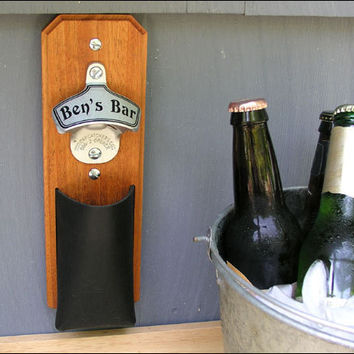 Personalized Mahogany Cap Catcher Bottle Opener - Groomsmen Gift - Magnetic & Wall Mount, Leather Pouch