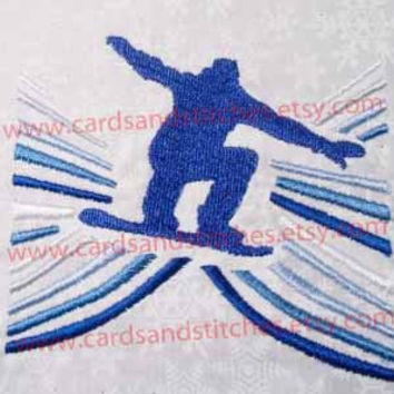 Snowboarder Swirls - Machine Embroidery Design - Instant Download - 4x4 and 5x7 - 7 formats included
