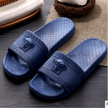 Versace bathroom slippers for men and women at the end of indoor non-slip bath home slippers couple slippers Dark blue