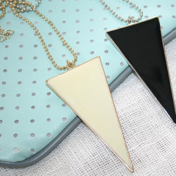 "Long Triangle Necklace, Geometric Minimalist Modern Bold Long Necklace, 29"", Urban Arrow Necklace, Enamel, Ballchain, Black, Butter Cream"