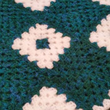 crochet handmade blanket grannysquares sofa throw bedding armchair cover mermaid blue green white free uk delivery tracked and traced