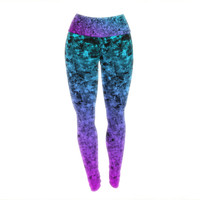 "Ebi Emporium ""Romance Me at Midnight"" Teal Blue Yoga Leggings"